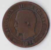 France, Napoleon III, Ten Centimes 1856 W (Lille), Fair, WE334